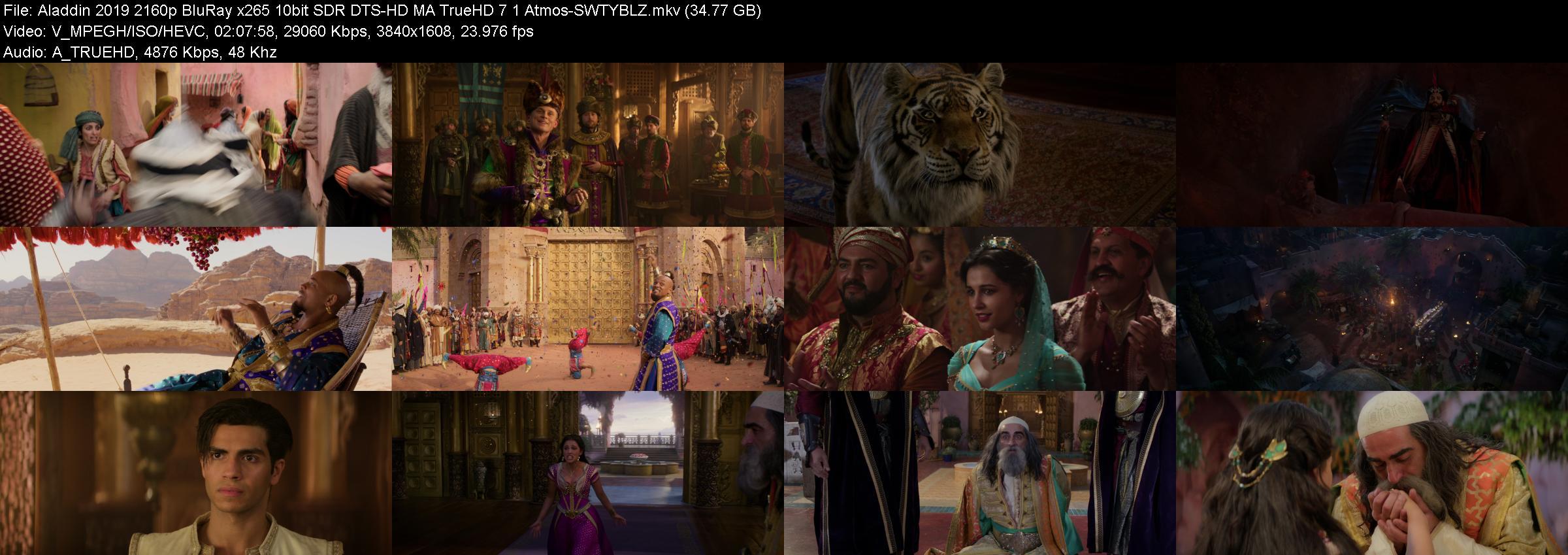 Aladdin 2019 2160p BluRay x265 10bit SDR DTS-HD MA TrueHD 7 1 Atmos-SWTYBLZ