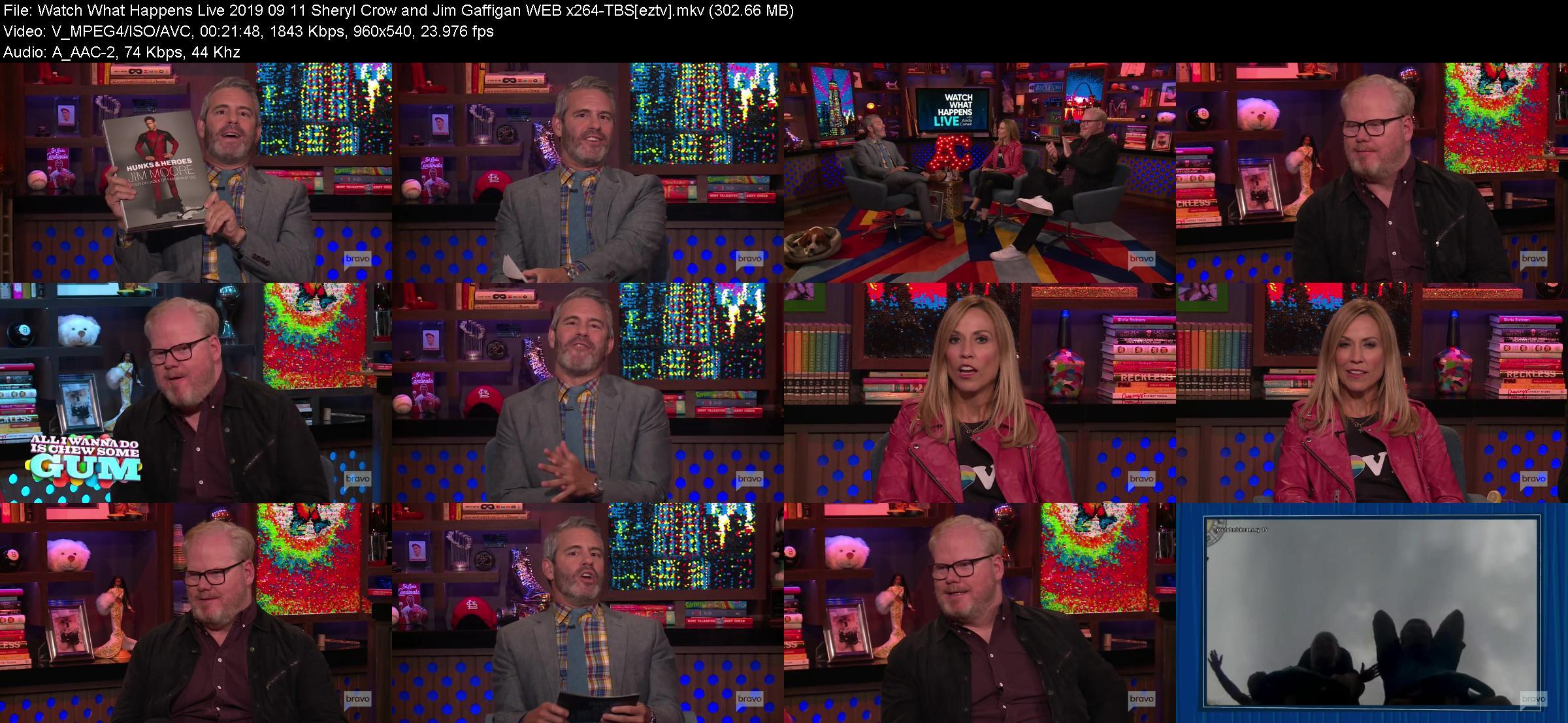 Watch What Happens Live 2019 09 11 Sheryl Crow and Jim Gaffigan WEB x264 TBS