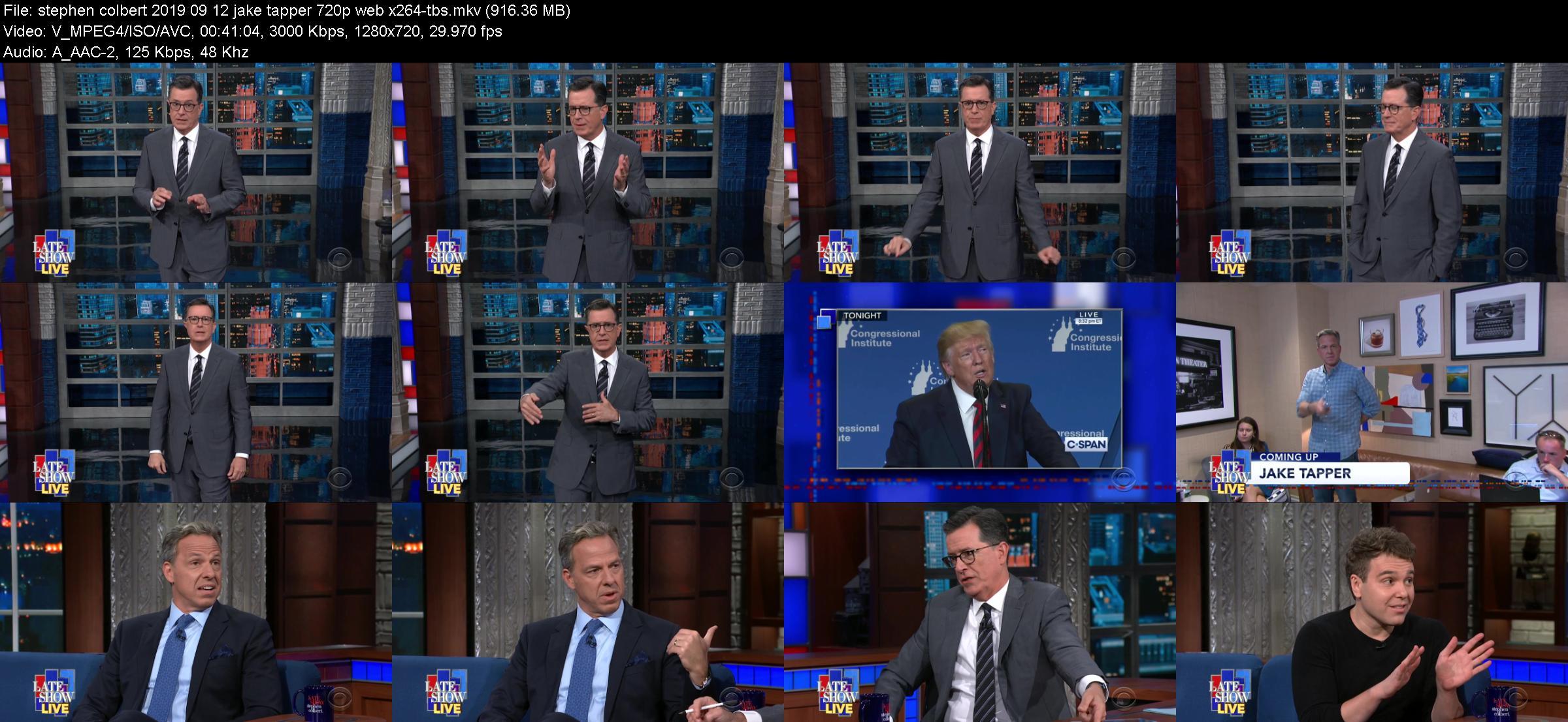 Stephen Colbert 2019 09 12 Jake Tapper 720p WEB x264-TBS
